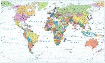Posters Carte du monde coloré - frontières, pays, routes et villes. Isolé sur blanc