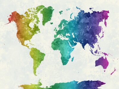 Posters Carte du monde dans l'aquarelle arc-en-