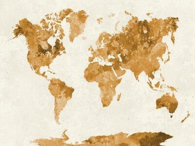 Posters Carte du monde dans l'aquarelle d'orange