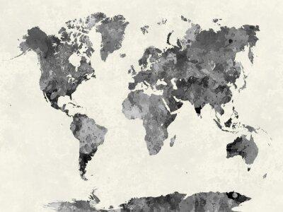 Posters Carte du monde dans l'aquarelle grise