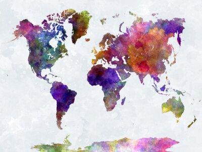 Posters Carte du monde dans l'aquarelle pourpre et bleu
