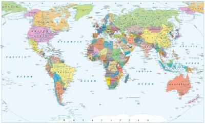 Posters Carte du monde politique - frontières, pays et villes