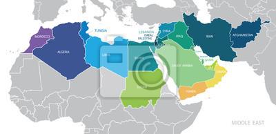 Posters Carte du Moyen-Orient. Vecteur