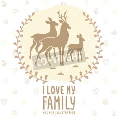 Posters Carte élégante avec la silhouette de cerf de la famille belle. Illustration vectorielle