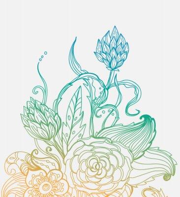 Posters Carte florale romantique tirée de main de couleur