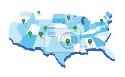 Posters Carte géographique des États-Unis
