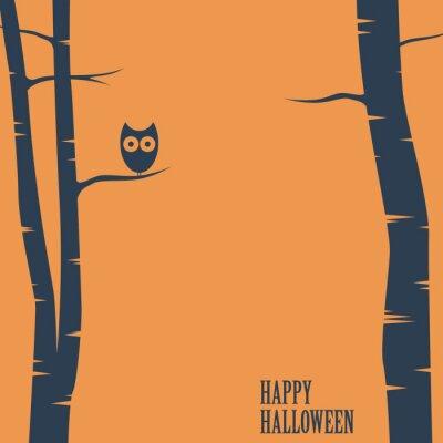 Posters Carte Joyeux Halloween avec hibou assis sur l'arbre. Carte postale de vacances