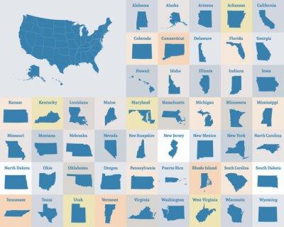 Posters Carte muette des États-Unis d'Amérique. États des États-Unis. Vecteur.