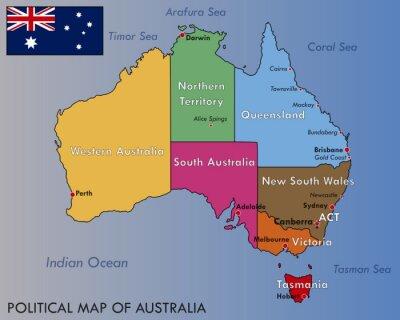 Posters Carte politique de l'Australie
