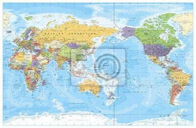 Posters Carte politique mondiale centrée sur le Pacifique. Pays et capitales, villes, frontières et objets d'eau, contour d'état. Illustration vectorielle détaillée carte du monde.