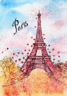 Posters Carte postale ancienne. Illustration d'aquarelle. Paris, France, Tour Eiffel