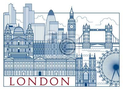 Carte postale avec les attractions de Londres. Dessin à la main vecteur