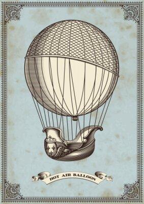 Posters carte vintage avec le ballon à air chaud