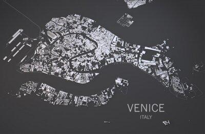 Posters Cartina di Venezia, Italia, vista Sat, 3d Mappa