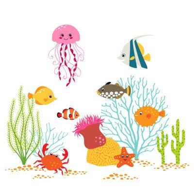 Posters Cartoon conception sous-marine sur fond blanc