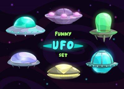 Posters Cartoon fantastic ufo set
