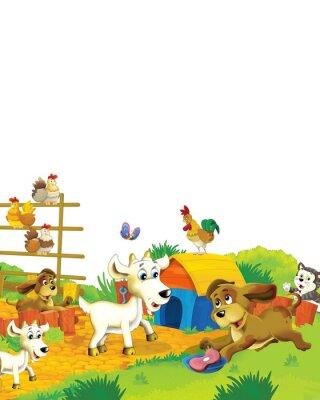 Posters Cartoon farm scene with animal goat having fun on white background - illustration for children