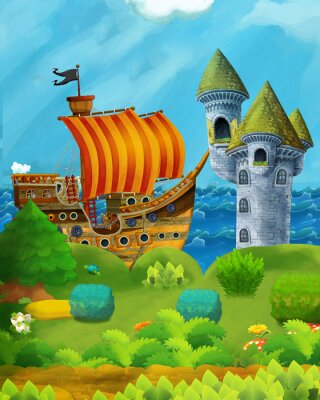 Posters cartoon forest scene with prince and princess standing on path near the forest and sea shore and pirate ship is docked hidden and castle tower - illustration for children