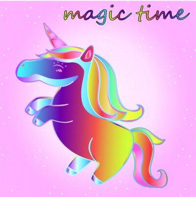 Posters cartoon licorne néon avec des étoiles sur un fond dégradé rose - un temps d'aventure et un moment de magie