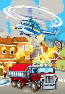 Posters cartoon scene with fireman car vehicle near burning building - illustration for children