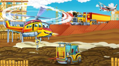 Posters cartoon scene with industry cars on construction site and flying helicopter - illustration for children