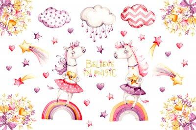 Posters Cartoon unicorn set. watercolor for decoration design. Funny pink animal princess collection. Princess rainbow poster. Nursery cute print. Decoration element. Magic fantasy design.