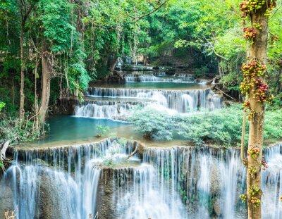 Posters Cascade dans la forêt profonde à Huay Mae Kamin, Kanchanaburi, Thaïlande