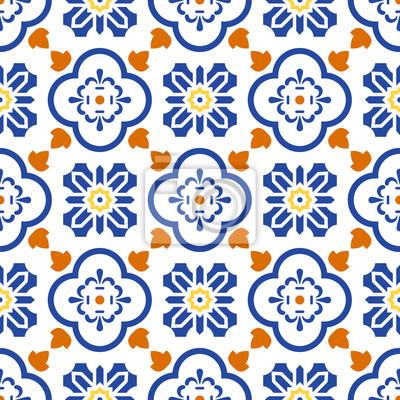 Posters Ceramique Bleu Et Blanc Mediterraneen Motif Carrelage Sans Couture