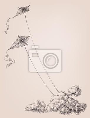 Posters Cerfs-volants dans le ciel au-dessus des nuages. Enfance, joie, liberté, objectifs élevés, concept de bonheur