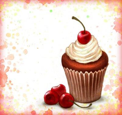 Posters Cerise petit gâteau au chocolat sur fond d'aquarelle