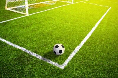 Posters champ d'herbe de football avec le marquage et la balle, Sport