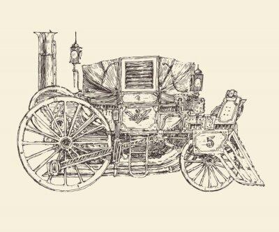 Posters Chariot Steampunk, le style gravé, illustration vectorielle
