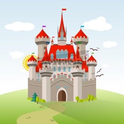 Posters Château de conte de fées. Vector Imagination Child Illustration. Paysage plat avec des arbres verts, herbe, chemin, pierres et nuages