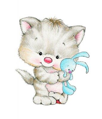 Posters Chaton mignon avec un bébé lapin