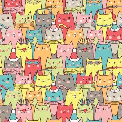 Posters Chats de Noël seamless pattern