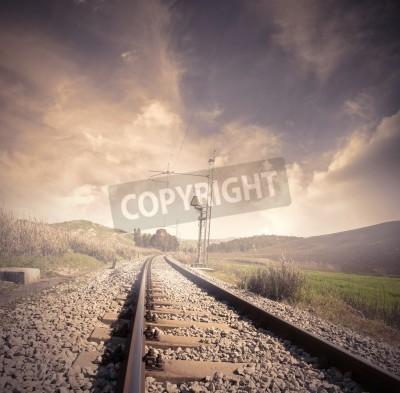 Posters Chemin de fer long à le lever du soleil