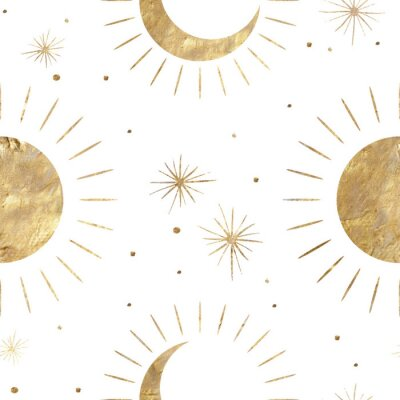 Posters chic golden luxurious retro vintage engraving style. image of the sun and moon phases. culture of occultism. Vector graphics