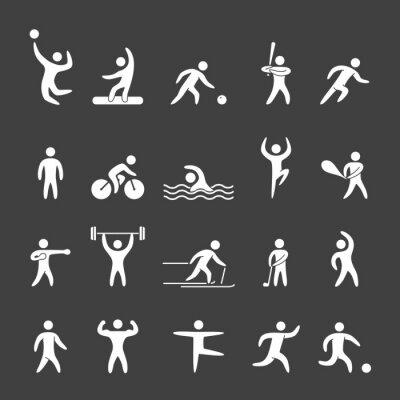 Posters chiffres Silhouette d'athlètes des sports populaires