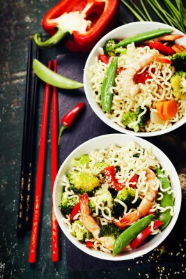 Posters Chinese noodles with vegetables and shrimps