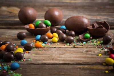 Posters Chocolat, Paques, oeufs, sur, bois, fond