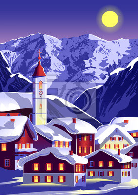 Christmas landscape with a village and a church under the snow on a background of mountains.