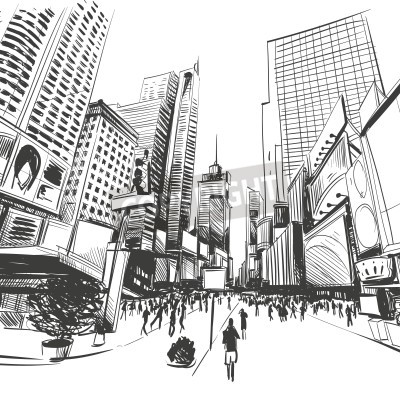 Posters City hand drawn, vector illustration