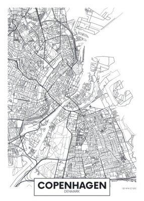 Posters City map Copenhagen, travel vector poster design