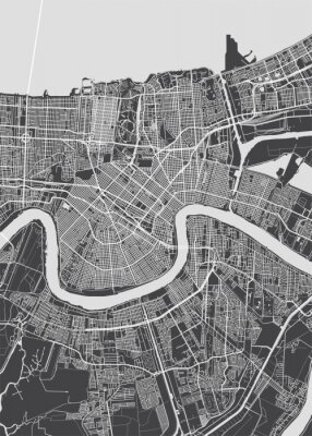 Posters City map New Orleans, monochrome detailed plan, vector illustration