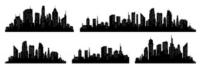 Posters City silhouette vector set. Panorama city background. Skyline urban border collection.