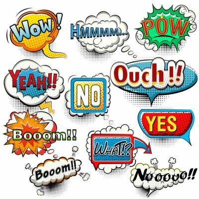 Posters Clair, comique, parole, bulles, cris, phrases, sons, vecteur