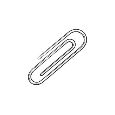 Posters Clip pour papiers icône de doodle contour dessiné à la main. Illustration de croquis de vecteur de clip métallique pour impression, web, mobile et infographie isolé sur fond blanc.