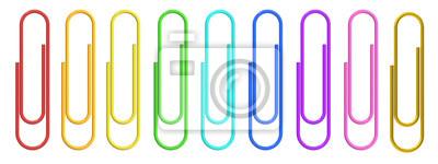 Posters Clips de papier coloré closeup, rendu 3D