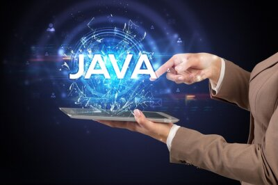 Posters Close-up of a touchscreen with JAVA abbreviation, modern technology concept