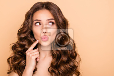 Posters Close-up portrait of her she nice-looking attractive lovely gorgeous well-groomed pensive wavy-haired girl thinking looking aside pouted lips isolated over beige pastel color background